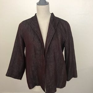 Eileen Fisher Open Front Silk Jacket Size PM